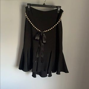 Lillie Rubin Black Skirt W/ Bow-Tie and Pearls